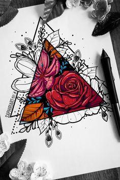 Geometrical mandala zentangle flower tattoo design drawn by Saphiriart tattoos Half colored flowers Geometric Tattoo Color, Geometric Tattoo Nature, Geometric Tattoo Meaning, Colored Tattoo Design, Geometric Tattoos Men, Geometric Drawing, Geometric Tattoo Drawings, Geometric Sleeve Tattoo, Geometry Tattoo