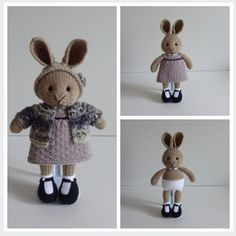 Items similar to Hand Knitted Bunny in Hat on Etsy Knitted Bunnies, Knitted Animals, Knitting For Kids, Hand Knitting, Knitting Ideas, Knitting Patterns, Julie Williams, Bunny Toys, Bunny Rabbits