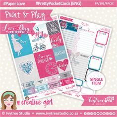 PP/191/PPC - Print&Play - PRETTY POCKET CARDS - Variety (Eng/Afr) - Love Day Collection #PrintAndPlay #Scrapbooking #Planners #PaperCrafts #DigitalProducts