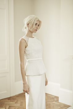 Charlotte Simpson modern straight and elegant wedding dress with embroidery detail and belt