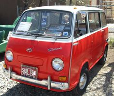 1970 Subaru 360 Van, 2 cylinder, 2 stroke, 25 bhp, 10 inch wheels.