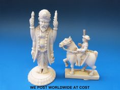 Lot 666 - An Indian ivory chess piece or figure of a Sikh on horseback together with an ivory figure of a