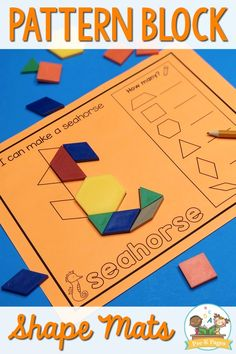 Pattern block mats are about so much more than just teaching shapes in preschool. Using pattern block mats introduces kids to geometry. Small Group Activities, Preschool Learning Activities, Preschool Printables, Preschool Math, Maths, Teaching Shapes, Teaching Math, Concepts Of Print, Pre K Pages