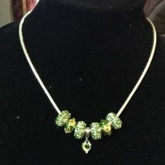 I just discovered this while shopping on Poshmark: Pandora necklace, green n silver. Check it out!  Size: OS