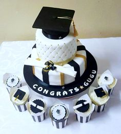 Graduation cake and cupcakes - gold, black and white by Shonga Events