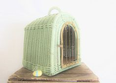 Antique Wicker Pet Carrier Bed Mint Green by LittleRedPolkaDots, $149.00
