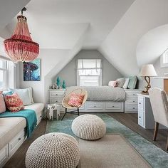 Attic Girl Room with Pink Beaded Chandelier