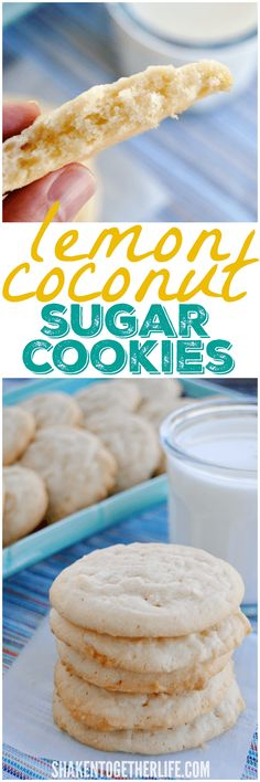Lemon Coconut Sugar Cookies are the perfect cookies for Spring! This easy, one bowl recipe make over 4 dozen chewy cookies - just stir, scoop and bake! Super Cookies, No Bake Cookies, Yummy Cookies, Cupcake Cookies, Cupcakes, Christmas Cookies, Pumpkin Recipes, Cookie Recipes, Dessert Recipes
