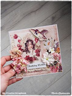 Handmade Vintage Happy Birthday Card, Birthday Wishes, 3D greeting card, vintage flower, for someone special, 6x6 card, blank card