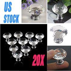 20PCS 30mm Pull Handle Diamond Shape Crystal Glass Cabinet Knob Cupboard Drawer | Home & Garden, Home Improvement, Building & Hardware | eBay!