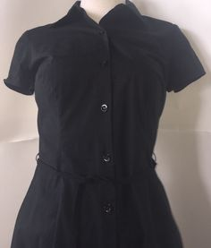 Ann Taylor Black Shirt Dress Size 2 Button Down Stretch Diner Retro Classic | eBay