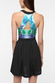 Sparkle & Fade Silky Floral Halter Dress  #UrbanOutfitters