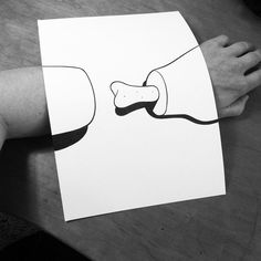 Clever BlackandWhite D Illusion Drawings By HuskMitNavn - Creative comical paper drawings