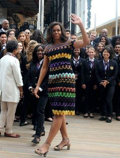 First Lady Michelle Obama arrives at the United States Pavilion at the Milan Expo to talk about her efforts to promote healthier lifestyles for kids.