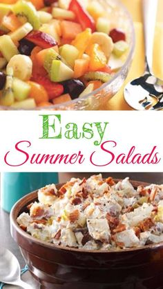 Easy summer salads for a crowd - summer salad recipes for cookout, BBQ, potluck, or any get together - great barbeque side dish ideas! Vegetarian Salad Recipes, Salad Recipes For Dinner, Summer Salad Recipes, Potluck Recipes, Budget Recipes, Easy Recipes, Group Recipes, Delicious Recipes, Easy Summer Dinners