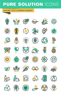 thin line icons set of recycling theme environment natural life sustainable technology renewable energy. Flat Design Icons, Icon Design, App Design, Logo Design, Graphic Design, Sustainable Transport, Water Logo, Green Technology, App Logo