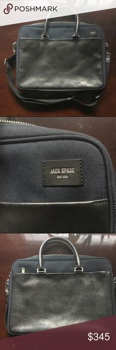 Jack Spade - Canvas and Leather briefcase Stylish leather canvas briefcase from Jack Spade brings sophistication with you to work and on the go. Two leather drop handles as well as an adjustable canvas strap for cross body function. Jack Spade Bags Briefcases