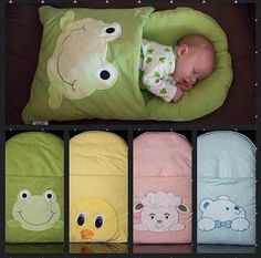 Blanket with a front pocket for baby.decorate baby's sleeping bag with frog, lamb, bear, and chick. Quilt Baby, Baby Sewing Projects, Baby Crafts, Kids Crafts, Baby Accessories, Baby Care, Kids And Parenting, Baby Dress, Baby Room
