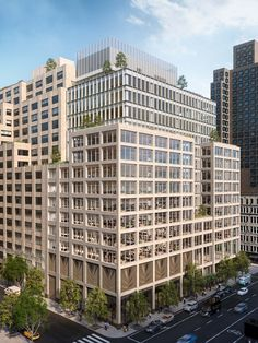 COOKFOX Releases Rendering for Office Building at 561 Greenwich Street in Hudson. Houston Street, Manhattan New York, Lower Manhattan, Construction Cost, Brick Facade, Rooftop Terrace, Time Photo, In The Heights, Skyscraper