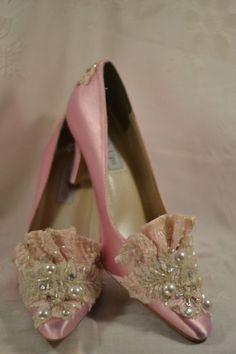 Princess Marie Antoinette Pink Beaded Lace Heels