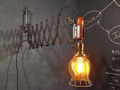 Vintage Industrial Style Scissor Wall Lamp - Machine Age Desk Work Light Expandable Sconce. $289.95, via Etsy.