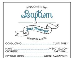 Printable Baptism Program - LDS, Girl, Boy