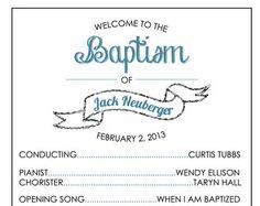 Printable Baptism Program - LDS, Girl, Boy