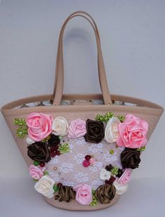 Unusual satin ribbon bag, 1920s style. $249.99, via Etsy.