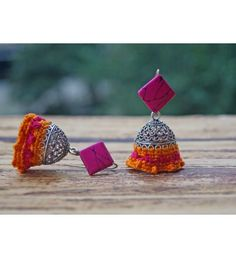 Anetra Pink & Orange Jhumka Earrings Fancy Jewellery, Thread Jewellery, Funky Jewelry, Tassel Jewelry, Textile Jewelry, Fabric Jewelry, Jewelry Crafts, Earrings Handmade, Necklaces