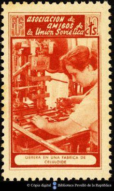 Temes-Asociación de Amigos de la Unión Soviética :: Segells del Pavelló de la República (Universitat de Barcelona) Barcelona, Baseball Cards, Digital, Movies, Movie Posters, Russia, Spanish, Stamps, War