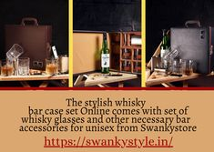 The stylish whisky bar case set Online comes with set of whisky glasses and other necessary bar accessories for unisex from Swankystore. Whisky Bar, Whiskey, Wooden Case, Bar Accessories, Bar Set, Shop Now, Unisex, Glasses, Whisky