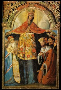 """An 18th century Ukrainian baroque icon depicting the intercession of Mary."""