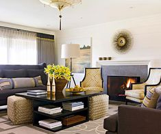 Like the coffee table with shelves and ottomans that slide under! Simple Fireplace, Fireplace Design, Fireplace Frame, Fireplace Ideas, Coffee Table With Seating, Coffee Tables, Coffee Table With Stools Underneath, Plank Walls, Fireplace Surrounds
