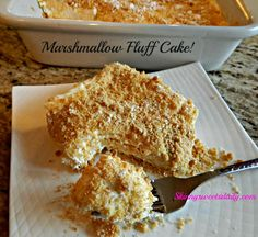 Millionaire Marshmallow Fluff Cake - This cake has become a family and company favorite as well as an internet favorite! It's so easy to put together and oh so yummy. Sweet Recipes, Cake Recipes, Dessert Recipes, Healthy Recipes, Ww Recipes, Just Desserts, Delicious Desserts, Yummy Food, Scones