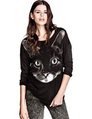 2013 autumn-spring new cute cartoonbig ears cat long-sleeved round neck sweaters for women Animal Print Fashion, Fashion Prints, Sweaters For Women, T Shirts For Women, Clothes For Women, Moda Animal Print, Loose Shirts, Printed Sweatshirts, Sweatshirts Online