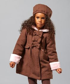 Take a look at this Brown & Pink Wool-Blend Bow Coat - Infant, Toddler & Girls by Penelope Mack on #zulily today!
