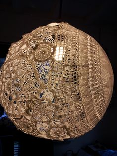 lace lamp - doily and paverpol