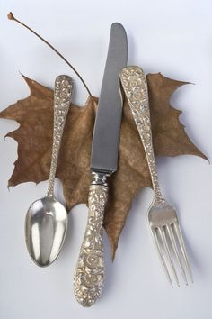 Ornate silverware. Looks like my Great-Grandmother's silver which I own now!