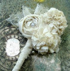 Fabric Flower Boutonniere - Wedding, Vintage Wedding - Cotton Rose Boutonniere, Fabric Flower, Fabric Boutonniere. $30.00, via Etsy.