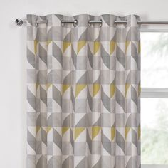 delta grey amp yellow luxury lined eyelet curtains pair julian and curtain panels dwellstudio landsmeer gray Mustard Living Rooms, Grey And Yellow Living Room, Yellow Gray Bedroom, Yellow Dining Room, Grey Yellow, Yellow Chevron, Grey And Mustard Curtains, Yellow Curtains, Chevron Curtains