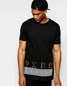 ASOS Longline T-Shirt With Foil Hem Print