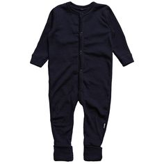 Joha navy merino wool thermal romper with hidden popper details on front and rear for ease of dressing. The trouser cuffs are cleverly designed so that babies feet can be covered when necessary. Joha produce top quality garments, using natures finest materials.
