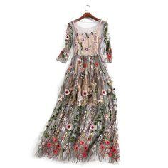 5e181461c177 Bamskarosa Runway 2018 Evening Party Dresses Gorgeous Half Sleeves Sheer  Mesh Embroidery Boho Bohemian Long Dress Brand Style -in Dresses from  Women s ...