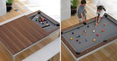 Dining Table that doubles as a pool table when you slide the top off.