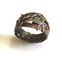 Wire Wrapped Jewelry Handmade, Antiqued Copper, Mens ring, Hematite Ring, Vintage Ring by AOAjewelry