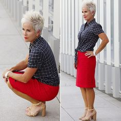 Stitch Fix: Love the combination of the checkered shirt and the bright red skirt. I'd wear this outfit minus the strappy sandals. No straps around the ankles for me.