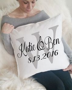 Personalized Wedding Gift, Gift for Couple, Newlywed Gift, Custom Name Gift, Gift for Bride and Groom, Modern Decor, Throw Pillow, Pillows