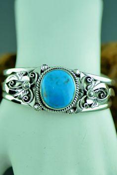 Sterling Silver Turquoise Bracelet by Les Baker