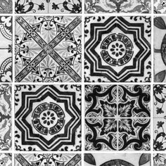 Lisbon Tile - B/W by Debbie McKeegan GBP126 Roll dimensions: W 187.5cm x H 300cm  Single roll comprising of 3 x 3m lengths, each 62.5 cm wide. Wall coverage per roll is 5.62 m2.