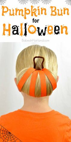 Pumpkin Bun | Halloween Hairstyle from BabesInHairland.com #halloween #hairstyle #pumpkin #hair